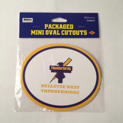 Bellevue West Thunderbirds Oval Cutout - 6 Pack