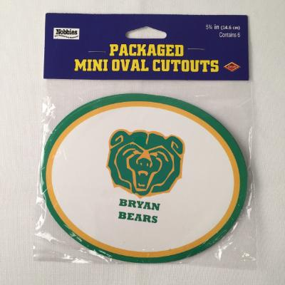 Bryan Bears Oval Cutout - 6 Pack