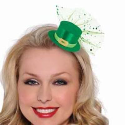 Hair Clip Mini Green Top Hat With Tulle