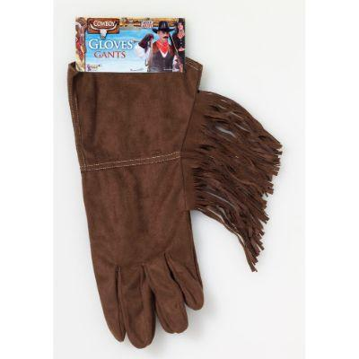 Brown Western Deluxe Gloves W/Fringe