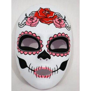 Day of the Dead Pink with Roses Adult Face Mask