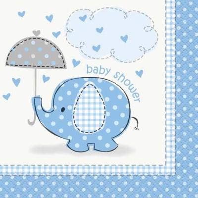 Umbrellaphant Blue Beverage Napkin