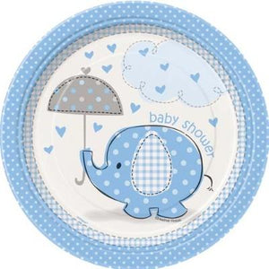 "Umbrellaphant Blue Dessert Plate 7"" - 8 Pack"