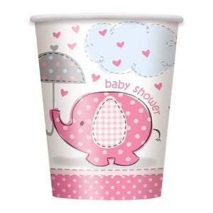 Umbrellaphant Pink Paper Cups 9 oz. - 8 Pack
