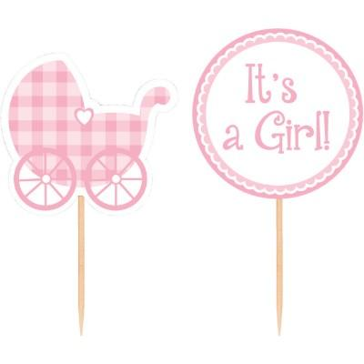 Cupcake Pick Baby Girl - 12 Pack