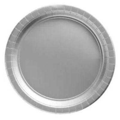 Silver Sparkle Big Party Pack Paper Dessert Plates 7