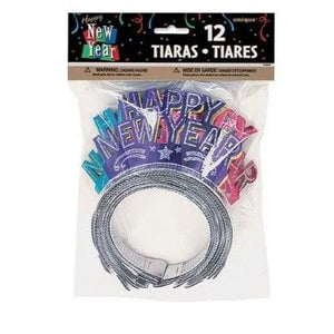 New Year's Glitter Tiara - Multicolor 12 Pack
