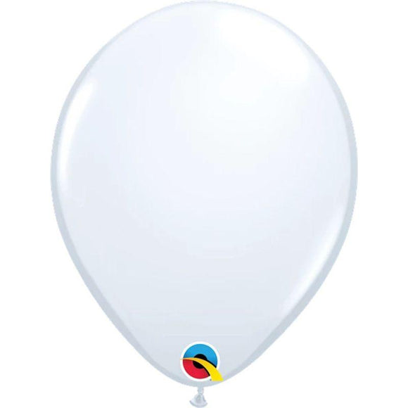 Solid White Single Latex Balloon 11