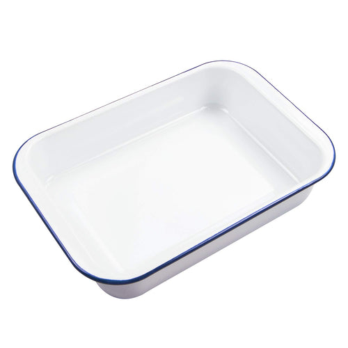 | Oblong Cake Pan | Pan With Solid White with Blue Rim | Lasagna Pan | Webake Baking Pan | Steel Roasting Pan | Enamelware Baking Pan | 9x13 Baking Pan | Roasting Pan | Cake Pan | webake | Kitchen |