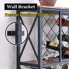 Load image into Gallery viewer, | Wine Bakers Rack | Bakers Rack | microwave oven stand | HOMYSHOPY | Home | bakers rack with wine storage | bakers rack with stemware holder | appliance storage |