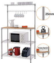 Load image into Gallery viewer, Shelves | Rack | microwave stand | Furniture | Finnhomy  | bakers rack | appliance storage | appliance garage | adjustable kitchen bakers rack |