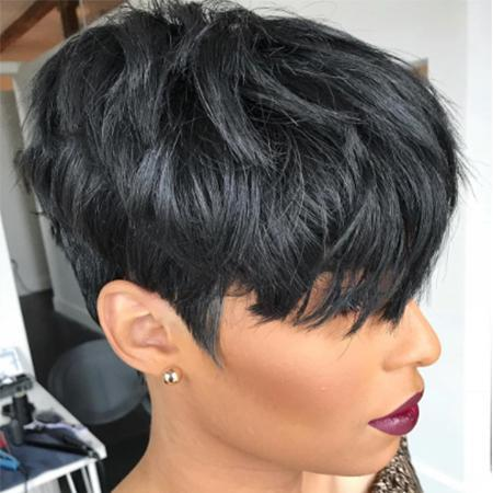 Short Black Layered Wavy Wig For Black Women-ZAZA131-ZAZALUM WIGS