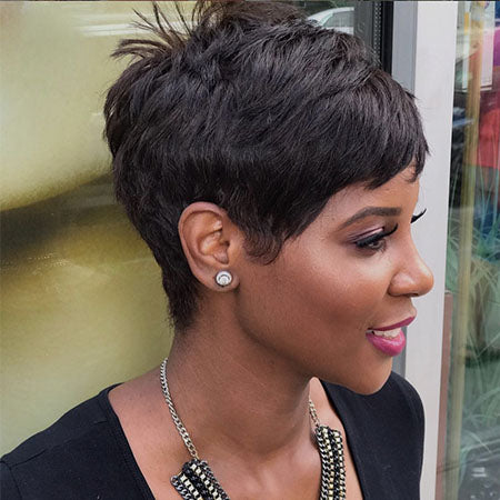 Nature Pixie Cut Black Short 100% Human Hair Wigs -ZAZA141-ZAZALUM WIGS