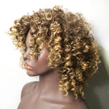 Afro Shoulder Length Big Curly Blonde Hair Wig-ZAZA265-ZAZALUM WIGS