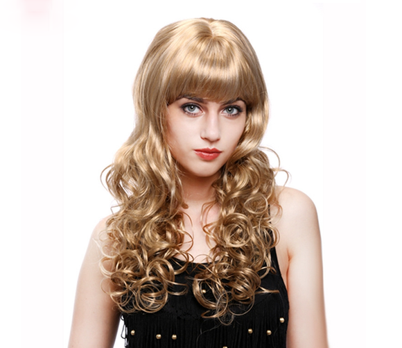 Euramerican Fluffy Big Wave With Bangs Gold Curls--ZAZA256-ZAZALUM WIGS