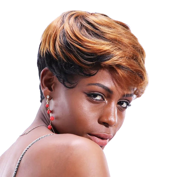 Synthetic Chic Dark Gold Curly Short Hairstyle Wig--ZAZA348-ZAZALUM WIGS
