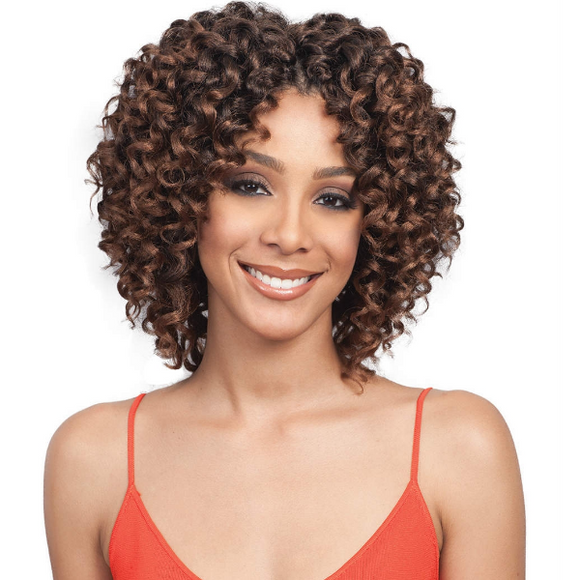 12''Afro Centre Parting Brown Curly Hair-ZAZA329-ZAZALUM WIGS