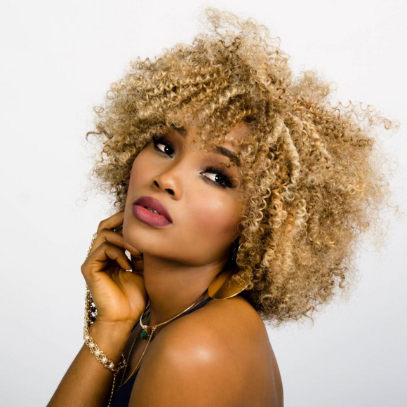 Afro Short Curly Blond Human Hair Wig 10 Inches -ZAZA332-ZAZALUM WIGS