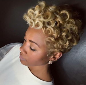 Short Afro Curly Wave Blonde Wigs for Black Women-ZAZA107-ZAZALUM WIGS