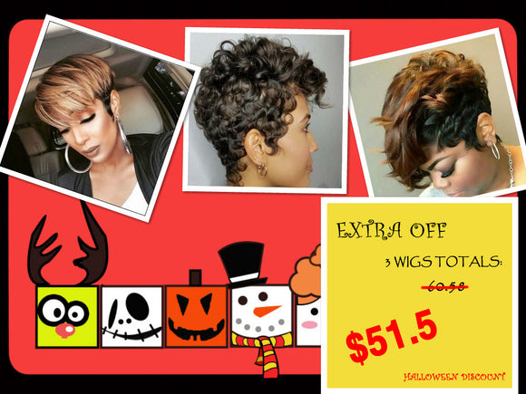 Halloween Discount Package A:HOT SALE PRODUCT IN OUR SHOP-ZAZALUM WIGS