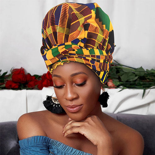 Creative Premium African Print Head Wrap (Yellow Green Kente)-ZAZA1700-ZAZALUM WIGS