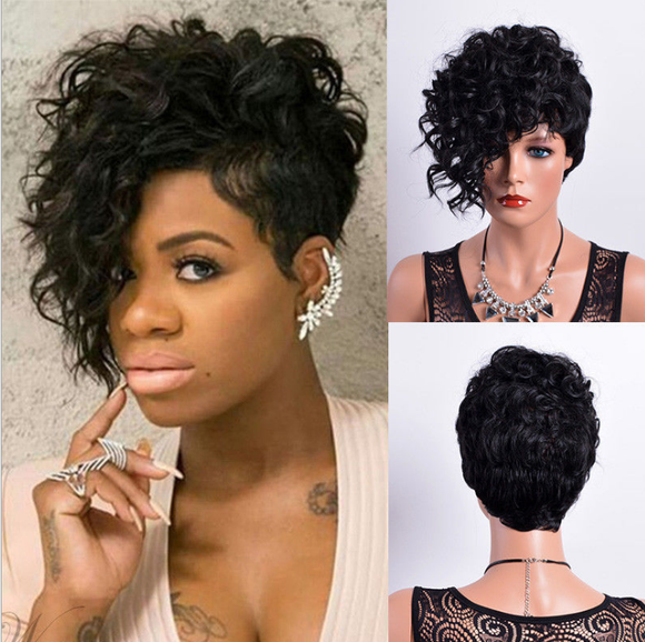 Afro Princess Style#Natural Black Front Curly Back Straight With Bangs Synthetic Wig-ZAZA024-ZAZALUM WIGS