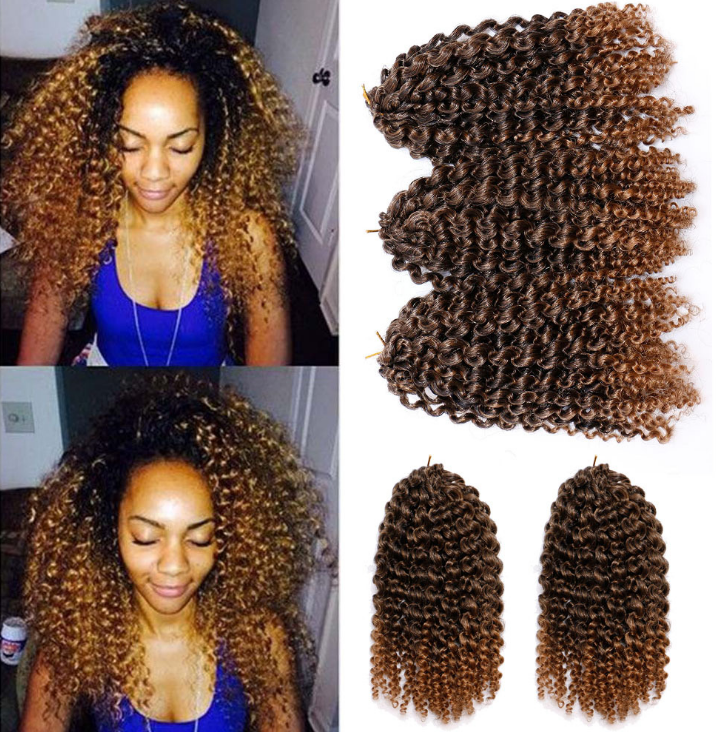 8 Inch Ombre Jumpy Wand Curl Crochet Braids 22 Roots Jamaican Bounce Synthetic Hair Extension
