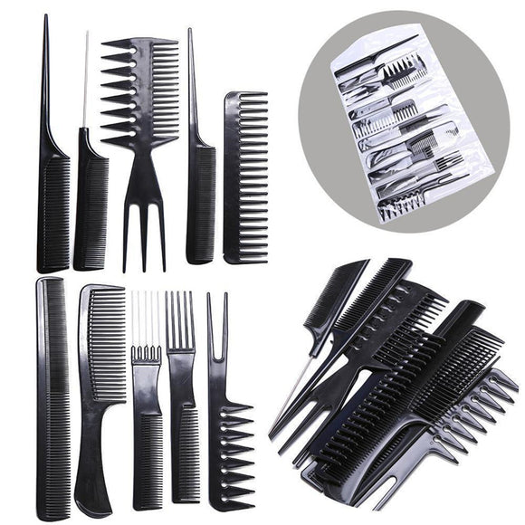 10pcs/Set Professional Hair Brush Comb Salon Barber Anti-static Hairdressing Combs Hair Care Styling Tools-ZAZA501-ZAZALUM WIGS