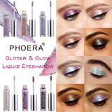 12 Color PHOERA Magnificent Metals Glitter and Glow Liquid Eyeshadow-ZAZALUM WIGS