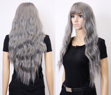 "26"" Natural Wave with Bangs Heat Resistant Synthetic Wig - ZAZA040-ZAZALUM WIGS"