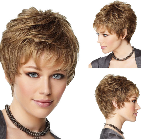 New Arrival#Hot Sell Chic Women Brown Short Curly Hair Full Lace Wig-ZAZA075-ZAZALUM WIGS