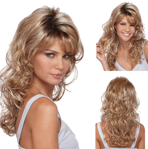 Chic Lady Style#Brown&Blonde  Long Curly Heat Resistant Synthetic Wig -ZAZA063-ZAZALUM WIGS