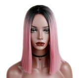 Pink Centre Parted Bob Hair Style Shoulder Length Heat Resistant Synthetic Wig-ZAZA028-ZAZALUM WIGS