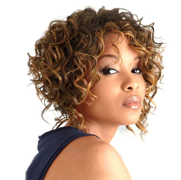 Afro Short Curly Kinky Brown Hairstyle Wig-TSS048-True Style WIGS