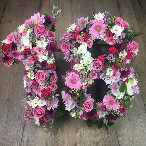 Fresh hand made floral numbers