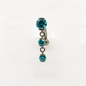 Top set 3 gem navel dangles 7/16""
