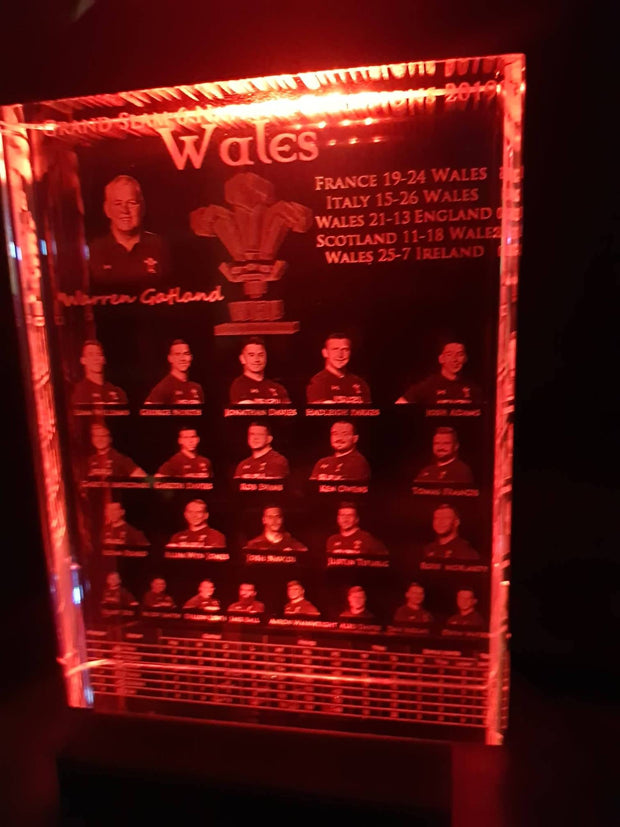Wales Grand Slam Champions Crystal