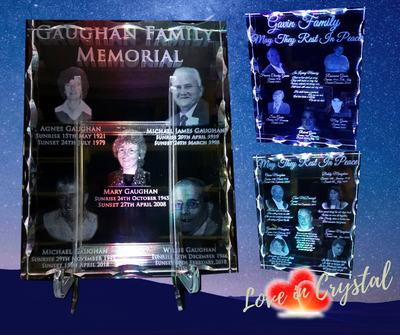 Family Crystal Memorial Plaque