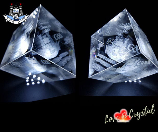 Dublins 5 in a Row Crystal Cut Cube