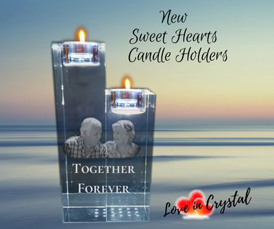 New Sweet Heart Crystal candle holders