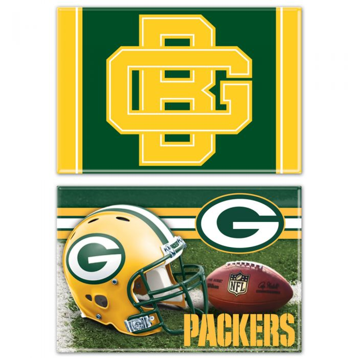 "Green Bay Packers Rectangle Magnet Two-Pack 2"" x 3"""