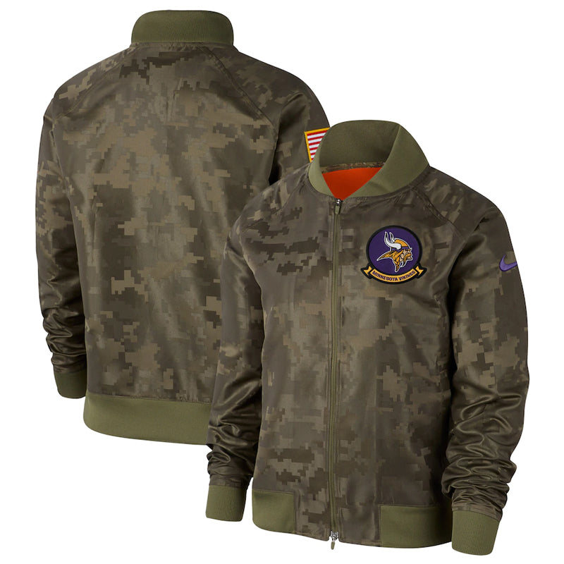 AVAILABLE IN-STORE ONLY! Minnesota Vikings 2019 Nike Salute to Service Sideline Full Snap Camo Lightweight Jacket