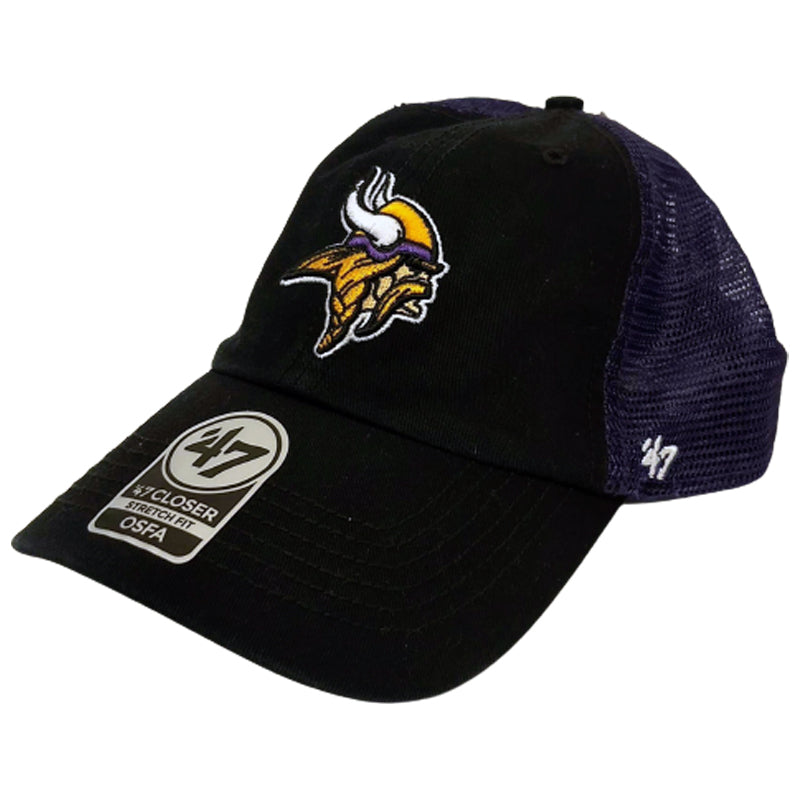 Minnesota Vikings '47 Closer Black/Purple Logo Stretch Fit Hat