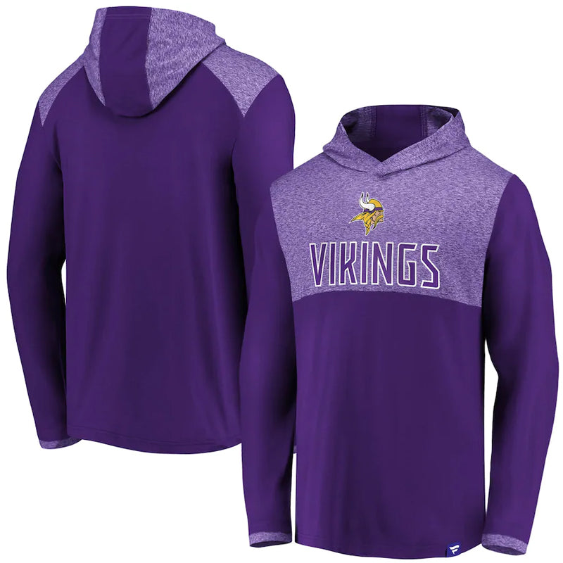 Minnesota Vikings Fanatics Iconic Marbled Clutch Long Sleeve Pullover Lightweight Hoodie