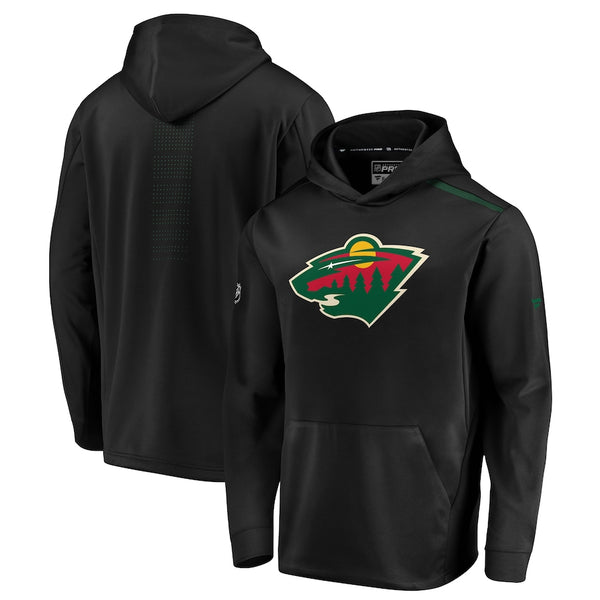 Minnesota Wild Black Fanatics Authentic Pro Rinkside Pullover Hoodie