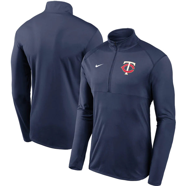 Minnesota Twins Navy Nike Subtle Logo Element Performance Half-Zip Pullover Jacket