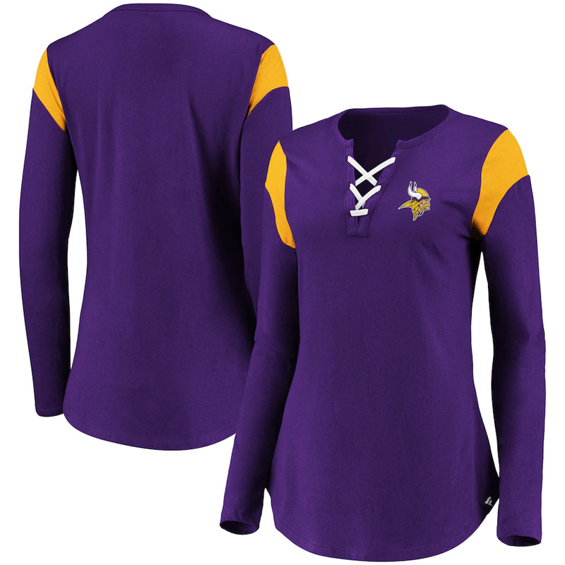 Minnesota Vikings Fanatics Branded Women's Iconic Lace-Up Long Sleeve T-Shirt