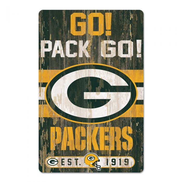 "Green Bay Packers Go! Pack Go! Slogan 11"" x 17"" Wood Sign"