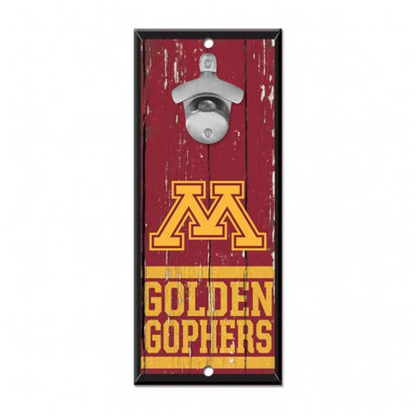 "University of Minnesota Golden Gophers Bottle Opener Sign 5""x11"""
