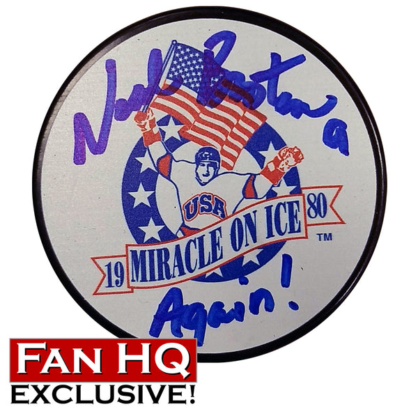 "Neal Broten Autographed Miracle On Ice Hockey Puck w/ ""Again!"" Inscription (Numbered Edition of 80)"